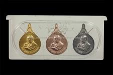 ชุดเหรียญพระมหาชนก พิมพ์เล็ก เนื้อทองคำ นาค เงิน พร้อมหนังสือ