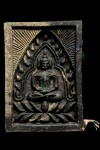 พระผงของขวัญเจ้าสัวอัมพวา หลวงพ่อสุรศักดิ์ วัดประดู่ พระอารามหลวง อ.อัมพวา จ.สมุทรสงคราม ตะกรุดเงิน เนื้อ 2 สี หมายเลข 2756